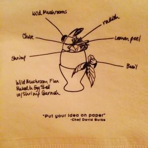 Cute & creative cocktail napkin at David Burke Fishtail!
