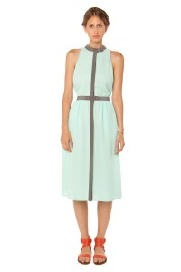 Mint Jordan Waisted Dress- Tailored poly georgette dress with contrast trim and hidden button front closure.