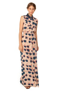 Sunnies Print Shimmy Ankle Dress- Silk Charmeuse dress with hidden button closure and cross-over open-back detail.